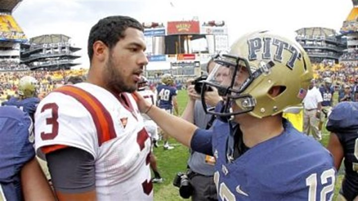 Thomas/Sunseri Virginia Tech's Logan Thomas, left, entered the game Saturday as the quarterback of the No. 13 team in Division I-A, but it was Tino Sunseri who owned the day == a day that earned him Big East player of the week honors for the second time in his career.