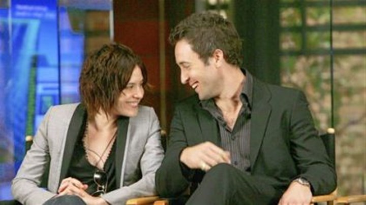 'Three Rivers' stars Stars Kate Moennig and Alex O'Loughlin during a press conference with television critics.