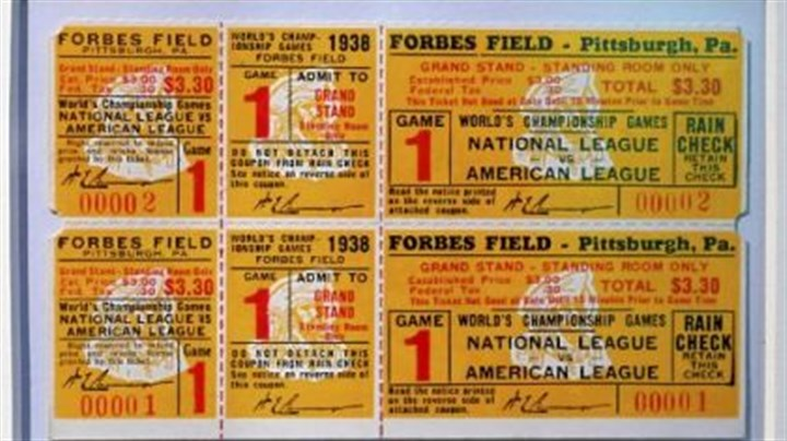Tickets for a World Series never played Tickets for a World Series never played in 1938 at the exhibit commemorating the 100th anniversary of Forbes Field at the Western Pennsylvania Sports Museum at the Sen. H. John Heinz History Center. The Pirates lost the National League title at the very end of the season.