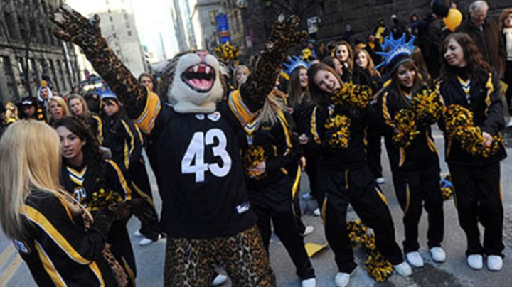 TJ High School Thomas Jefferson High School's cheerleaders and mascot, a Jaguar dressed in a Troy Polamalu Jersey.