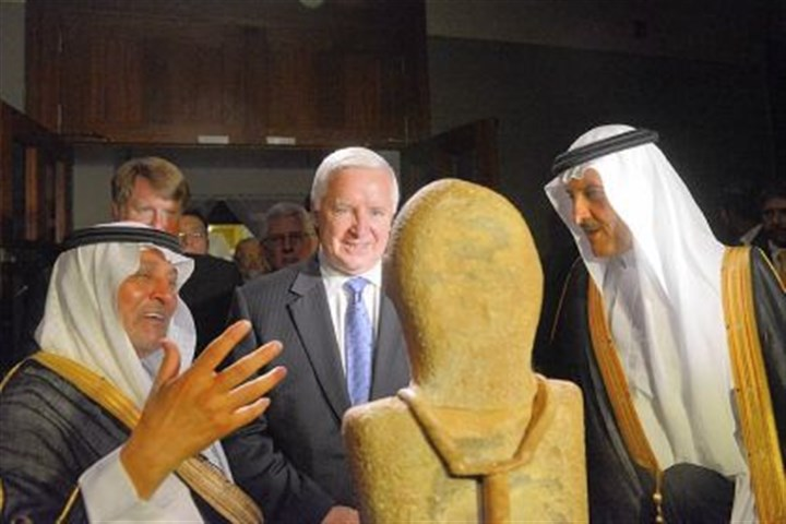 "Tom Corbett and Prince Sultan bin Salman bin Abdul-Aziz Al Saud Ali Al-Ghabban, left, Gov. Tom Corbett and Prince Sultan bin Salman bin Abdul-Aziz Al Saud at Friday's opening reception of ""Roads of Arabia: Archaeology and History of the Kingdom of Saudi Arabia"" at Carnegie Museum of Natural History in Oakland."