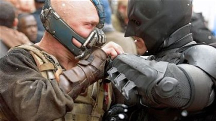 "Tom Hardy and Christian Bale As Bane, Tom Hardy goes head to head with Christian Bale's Batman in ""The Dark Knight Rises."" Filmmakers staged a battle for the movie in Oakland last summer."