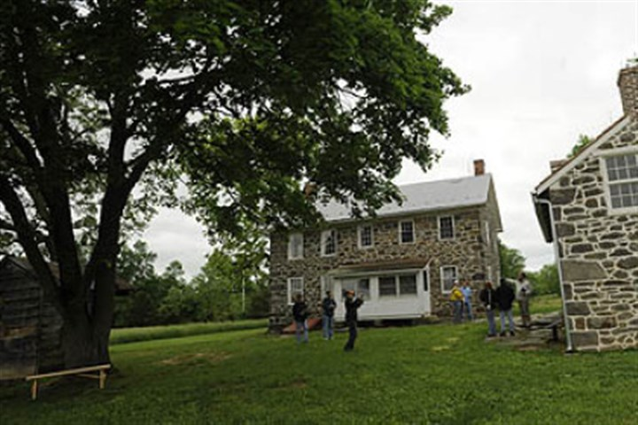 tour group visits Spangler farm The historic George Spangler farm property.
