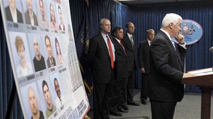 Tpm Corbett Pennsylvania Attorney General Tom Corbett, right, yesterday announces grand jury presentments in the bonusgate scandal investigation.