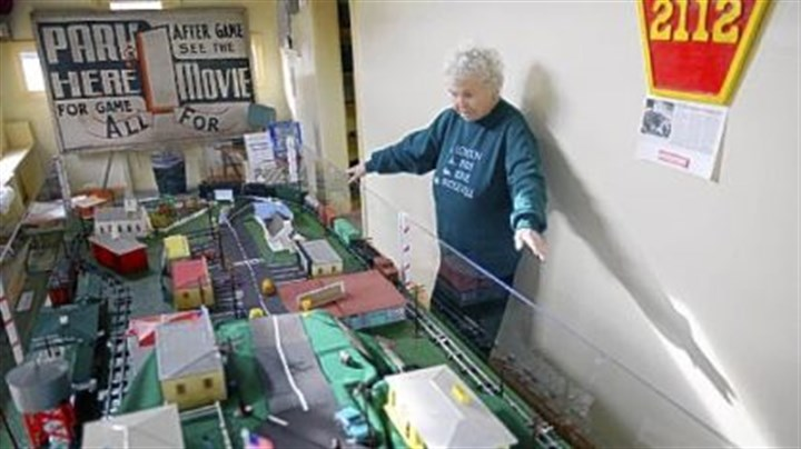Train display Mary Weise, the president of the Bridgeville Historical Society, talks Friday about its new model train display.
