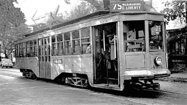 Trolley One of the trolley cars that moved through the streets of Wilkinsburg.