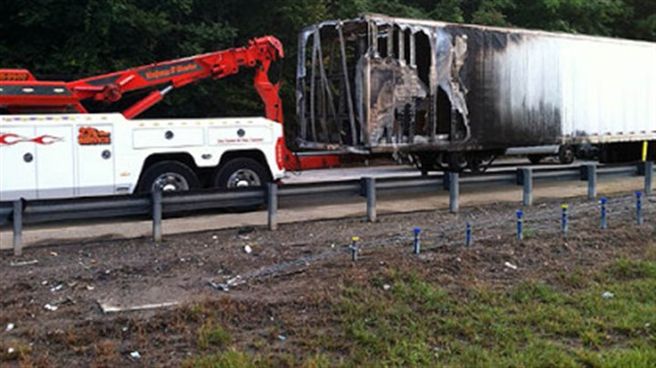 Truck fire Part of the trailer of the mail truck that caught fire early Monday morning along Interstate 279.