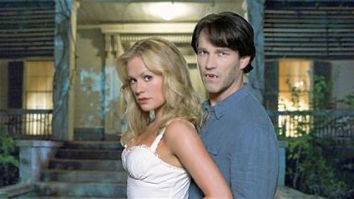 """True Blood"" Anna Paquin and Stephen Moyer star in the comical vampire soap opera ""True Blood."