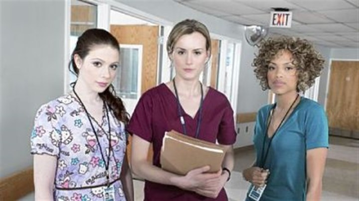 "TV review: 'Mercy' Portraying nurses in ""Mercy"" are, from left, Michelle Trachtenberg as Chloe Payne, Taylor Schilling as Veronica Flanagan Callahan and Jaime Lee Kirchner as Sonia Jimenez."