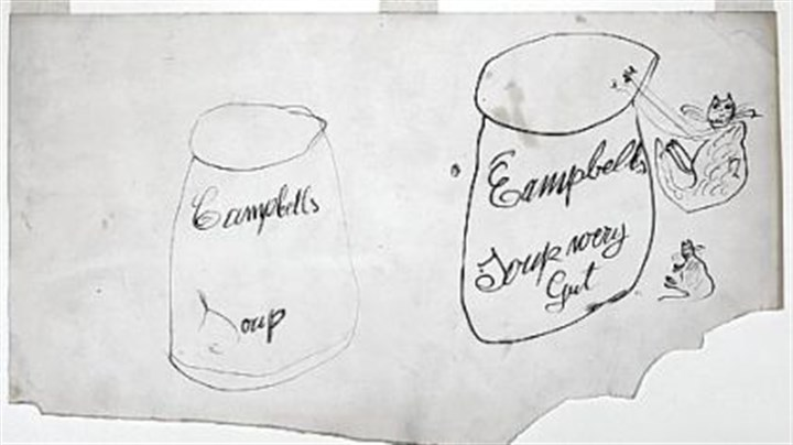 "'Two Campbell's Soup Cans and Two Cats' The Warhol Museum on the North Shore is showing ""Two Campbell's Soup Cans and Two Cats,"" a rough sketch (131/2 inches by 225/8 inches) by Julia Warhola drawn in 1952 -- a decade before her son featured the iconic soup can in a show in Los Angeles."