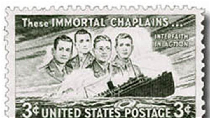 U.S. stamp honoring chaplains The United States issued a three-cent stamp honoring the four chaplains in 1948.