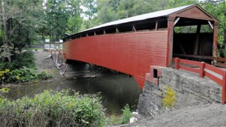 Under repairs The Bells Mills Bridge, the only covered bridge in Westmoreland County, is undergoing repairs.