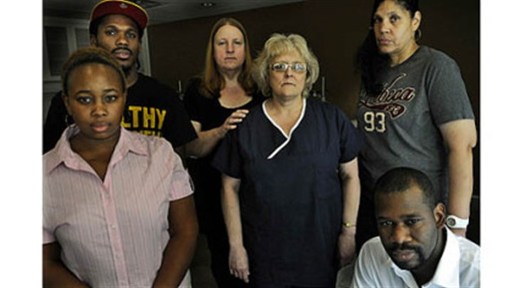 UPMC nonclinical staff From left to right: Jamie Hopson, Chaney Lewis, Kathy Cabbagestalk, Jean Williams, Tina Tucker and Mallory Jemison are UPMC employees with jobs that are not unionized. They are part of a movement to form a union.