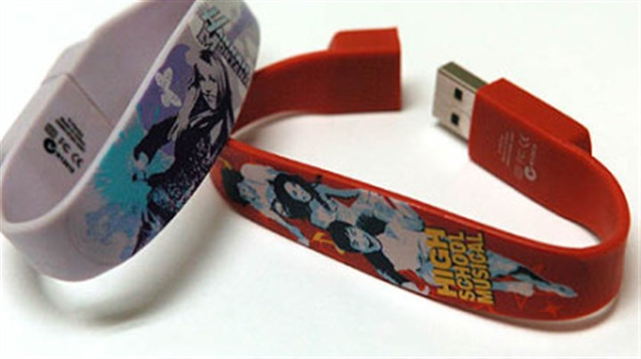 USB bracelets Marketers also are aiming at the younger market, with drives built into bracelets featuring entertainers and popular shows.