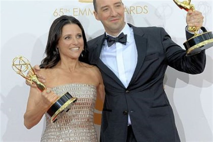 """Veep"" costars at 2013 Emmys Hail to the ""Veep"": Julia Louis-Dreyfus wins best lead actress in a comedy series and costar Tony Hale wins the best supporting actor in a comedy series"