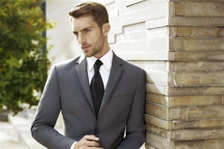 Vera Wang tuxedo Super 120's gray tuxedo with two-button jacket with satin edge notch, lapel and side vents from the Vera Wang BLACK collection available exclusively at the Men's Wearhouse.