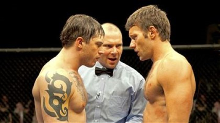 "'Warrior' Tommy (Tom Hardy, left) and Brendan (Joel Edgerton, right) star in ""Warrior."""