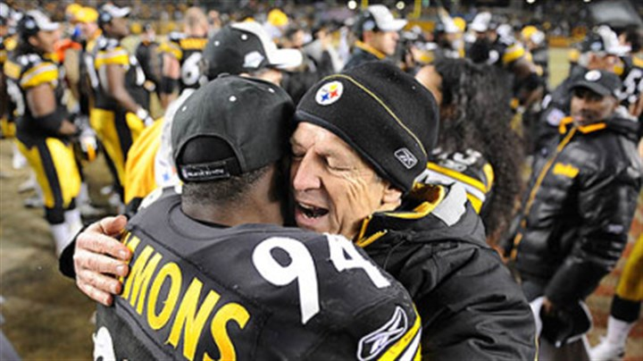 Way to go Steelers Dick LeBeau celebrates with Lawrence Timmons after beating the Ravens yesterday at Heinz Field.