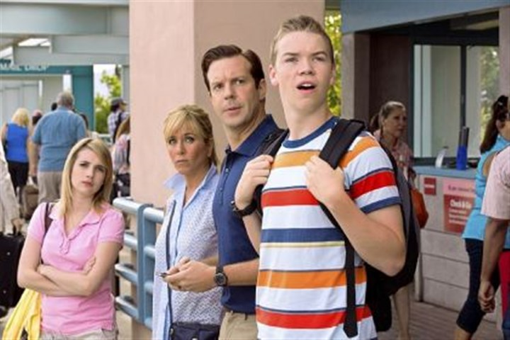 "'We're the Millers' Emma Roberts, Jennifer Aniston, Jason Sudeikis and Will Poulter in ""We're The Millers."""