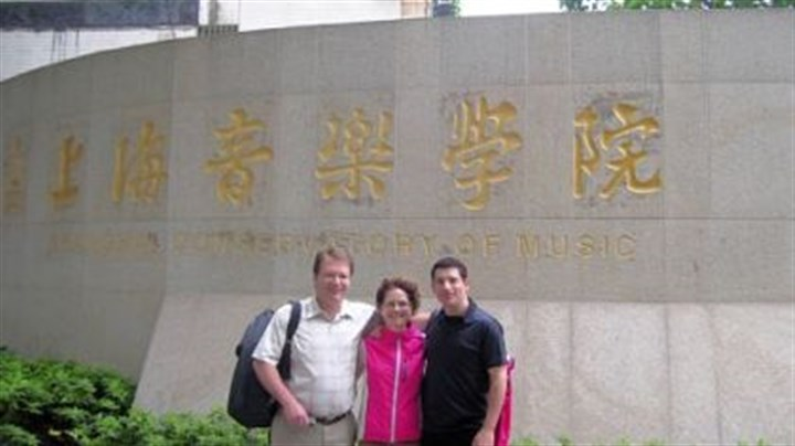 William Caballeo, Nancy Goeres and Michael Rusinek Pittsburgh Symphony Orchestra musicians William Caballeo (L), Nancy Goeres and Michael Rusinek, pose outside the Shanghai Conservatory in May before they give master classes during the PSO tour to Asia.