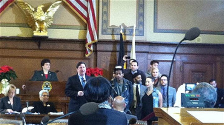 wiz khalifa day Wiz Khalifa accepts a proclamation from Councilman Bill Peduto during a ceremony at the City-County Building this morning.