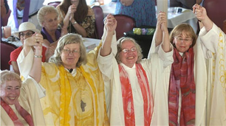 Women ordained as priests and deacons Women ordained as priests and deacons celebrated during a ceremony aboard a riverboat on the Monongahela River in 2006. Among them was Joan Clark Houk, center, shown with Gisela Forster, left, and Eileen McCafferty DiFranco.