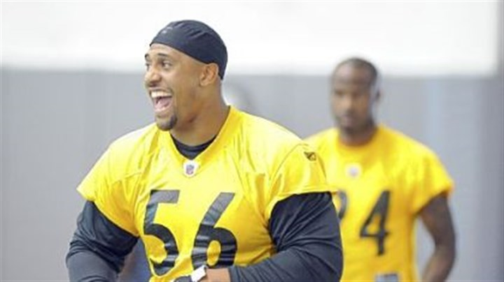 Woodley LaMarr Woodley gets ready for practice Wednesday.