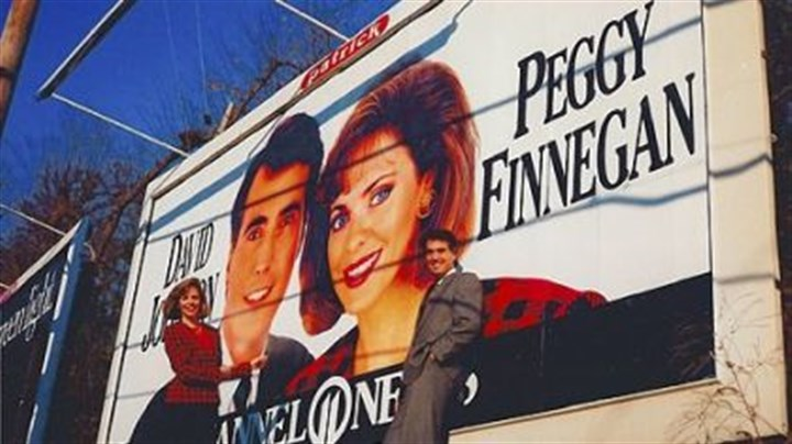 WPXI anchors In 1990, WPXI anchors Peggy Finnegan and David Johnson visited a billboard erected to promote their pairing.