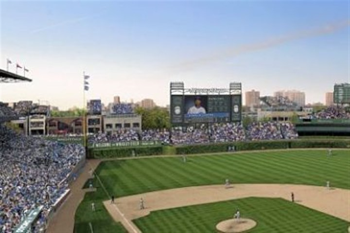 wrigleyyyy An artist rendering of planned renovations at Wrigley Field, which include a Jumbotron in left field.