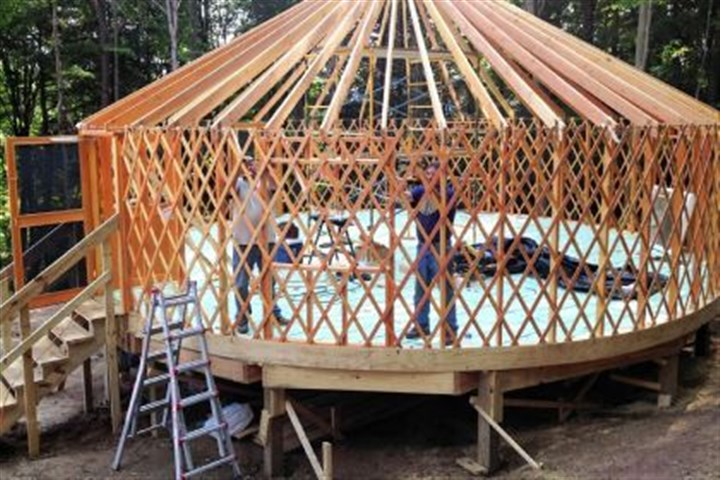 Yurt One of the yurts under construction at Savage River Lodge.