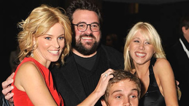 """Zack and Miri"" From left, Elizabeth Banks, director Kevin Smith, Jason Mewes and Katie Morgan arrive at the ""Zack and Miri Make a Porno"" premiere Sunday at the Toronto International Film Festival."