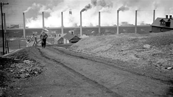 Zinc works in 1949 The Donora zinc works of American Steel & Wire Co. spew smoke at full blast in 1949.