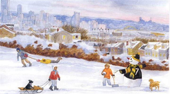 """Fun on Fineview Hill"" From the past collection: The Leukemia & Lymphoma Society's annual holiday card features ""Fun on Fineview Hill"" by watercolor artist Mary Lois Verrilla."