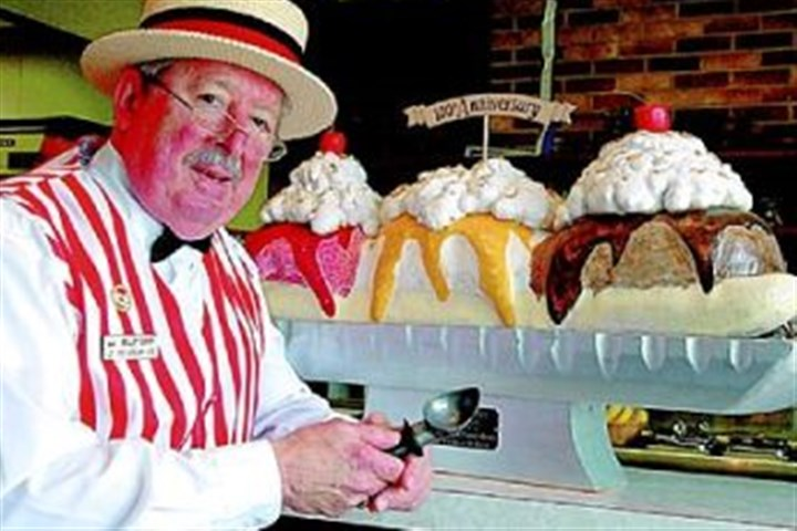 """Ice Cream Joe"" Joseph E. ""Ice Cream Joe"" Greubel, owner of Valley Dairy Ice Cream in Latrobe, knew David E. Strickler, the inventor of the banana split, during the 1950s."