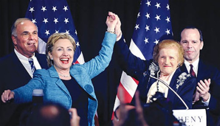 Masloff and Sen. Clinton Former Pittsburgh Mayor Sophie Masloff, right, holds hands with Hillary Rodham Clinton at an Allegheny County Democratic Committee dinner at Heinz Field in April. At left is Ed Rendell, who was governor at the time.