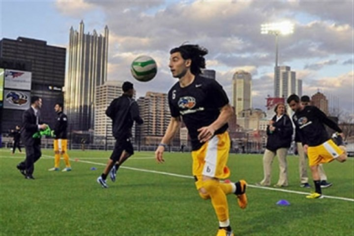 Pittsburgh Riverhounds captain Richard Costanzo Pittsburgh Riverhounds captain Richard Costanzo and teammates warm up before the inaugural game at the new Highmark Stadium in April against the Harrisburg City Islanders. A sellout crowd of almost 4,000 fans was in attendance.