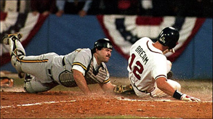 The Slide The Atlanta Braves' Sid Bream slides across the plate to win the National League Championship Series as Pirates catcher Mike LaValliere applies the late tag in the ninth inning on Oct. 14, 1992.