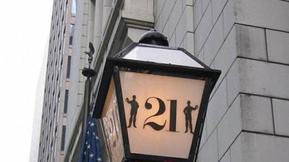 """21"" Club The lamp that signals you are at ""21"" Club in New York."