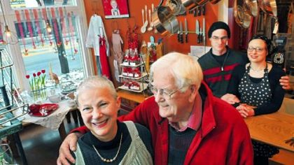 Annex Cookery, Homestead In her Annex Cookery store in Homestead, Judith Tener-Lewis stands in the arm of her husband, David Lewis, while her son, Daniel Steinitz, stands behind the counter with his wife, Ellie Gumlock. The kitchen store and neighboring Tin Front Cafe reside in a historic building on East Eight Avenue.
