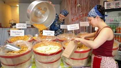 At work Rob and Genalle Day at work in The Pittsburgh Popcorn Co. on 21st Street, Strip District.