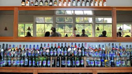 Bottles of wine Wine is displayed at Greendance Winery.