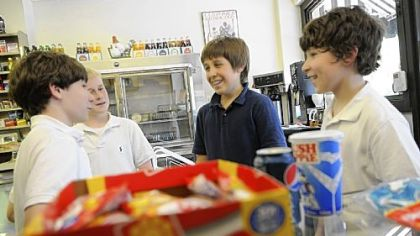 Boys stop in Frick Park Market From left, Luke Farrell, Tommy Watson, Liam Fontes and Alex Stockman -- all seventh-graders at nearby St. Bede School -- stop in at the Frick Park Market several times a week to buy candy.