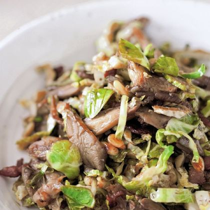 Brussels Sprouts Brussels Sprouts and Oyster Mushrooms with Pine Nuts.