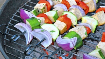 Chipotle-marinated Tofu and Vegetable Kebabs Chipotle-marinated Tofu and Vegetable Kebabs.