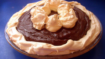 """Chocolate Pie Chocolate Pie with Meringue Crust from Therese V. DeCaria's cookbook, """"The Table My Mother Set."""""""