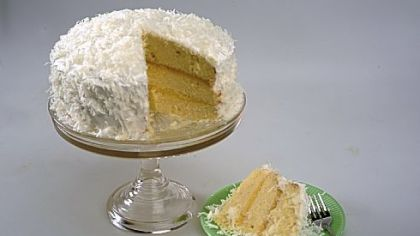 Coconut Cake with Lemon Curd and Marshmallow Frosting