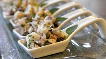 "Coconut Ceviche Coconut Ceviche ready to be snapped up in ""spoons"" from In the Kitchen in the Strip District."