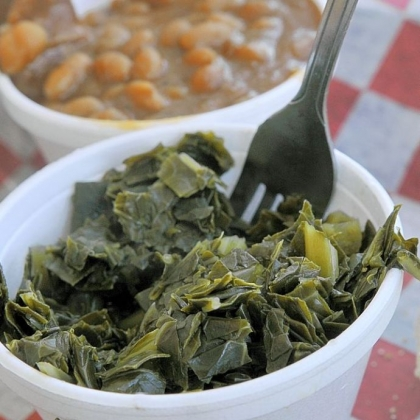 Collard greens Selma's include collard greens, best with a splash of Carolina vinegar sauce, and baked beans with smoked pork.