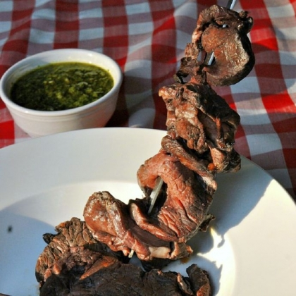 Costoletta Di Bovaro Costoletta Di Bovaro (Italian Cowboy Steaks) With Salsa Verde.