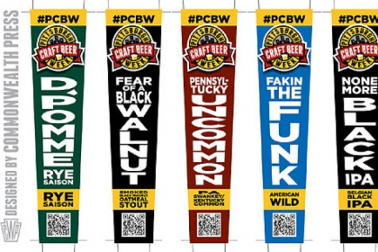 """Craft Beer Week The tap handle graphics for the """"collaboration beers"""" for Pittsburgh Craft Beer Week."""
